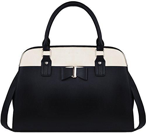 Damen Handtasche, Coofit Henkeltaschen Damen Umhängetasche Leder Schultertasche Bowknot Crossbody Tasche Tote Handtaschen (Schwarz)