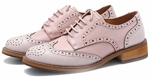 Simplec Donna Vintage Brogue Comfy Business & Schnauderschuhe Pelle Classica Oxford Perforata Wingtip Hell-pink