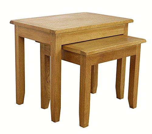 Best Price Oak Nest Of Tables Nesting Set Of 2 Side Tables Living Room Fu