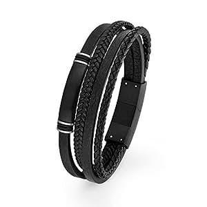 s.Oliver Herren Ident-Armband gravierbar aus mattem Edelstahl mit IP Black Beschichtung, Leder schwarz, längenverstellbar (20+1,5 cm)