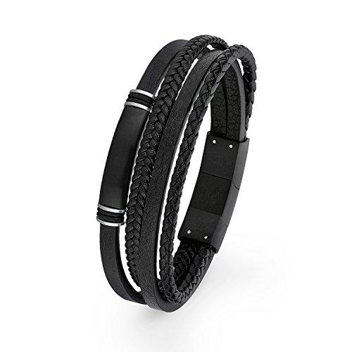 S.Oliver Herren Identarmband gravierbar Edelstahl IP Black Leder mattiert 20+1,5 cm schwarz