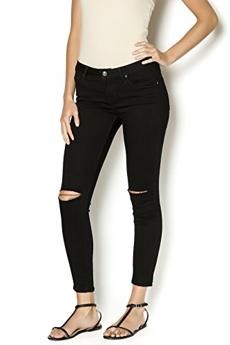 Ansh Fashion Wear Women's Denim Jeans - Contemporary Regular Fit Denims for Women - Mid Rise - Full Length- Knee Cut -BLACK  available at amazon for Rs.599