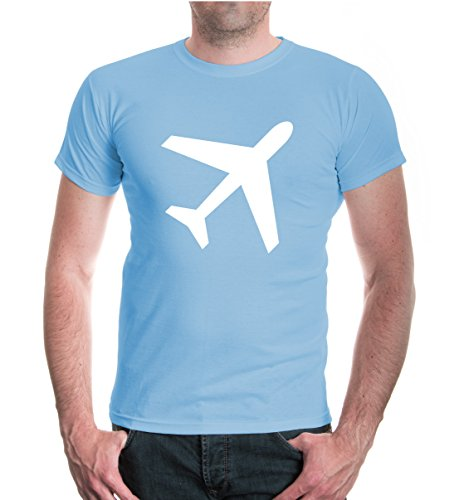 buXsbaum® T-Shirt Flugzeug-Silhouette Skyblue-White