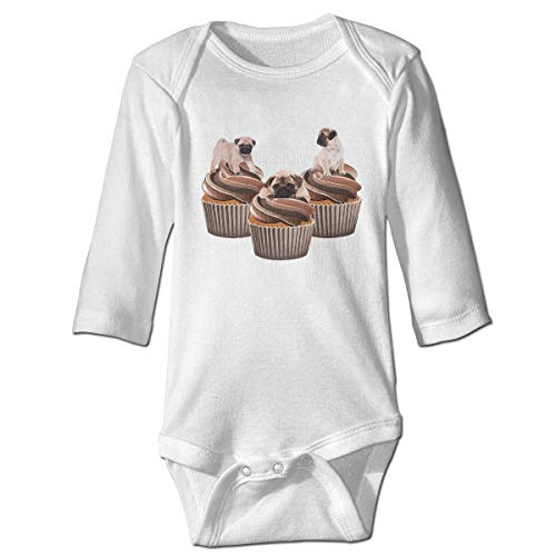 WBinHua Bodysuits Baby Body, Bertha Cupcakes Pug Dog Animal Food Baby Toddler Long Sleeve Onesies Bodysuits Carters Cupcake
