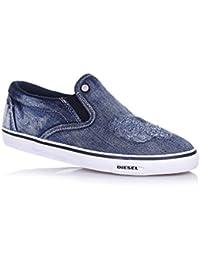 DIESEL - Zapato de denim, insertos laterales elásticos, efecto used, Niño, Niños