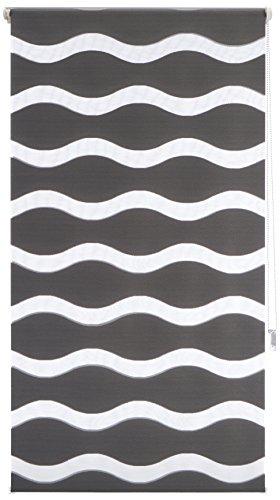 'K-Home Wohn-Guide Klemmfix Store Double Vague sans perçage – Anthracite 70 cm x 150 cm (L x l)