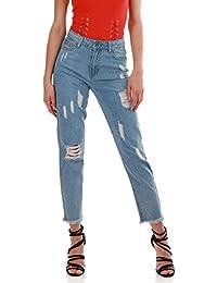 La Modeuse Jeans taille haute délavé et destroy