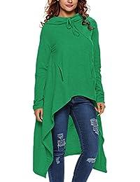 Dehutin Women' Irregular Large Size Pullover Fashion Hooded Sweatshirt For Women