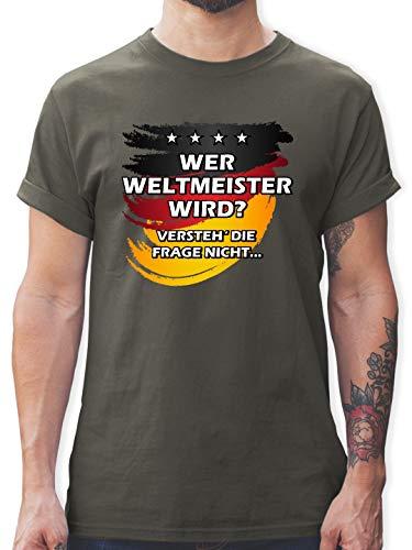 Fußball-Europameisterschaft 2020 - Deutschland WM Wer Weltmeister Wird - 3XL - Dunkelgrau - L190 - Tshirt Herren und Männer T-Shirts