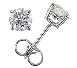 Classical 9 ct White Gold Solitaire Diamond Stud Earrings Brilliant Cut 0.40 Carat IJ-I1 - 4mm*4mm