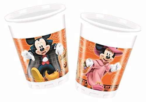 Ciao Procos 82355–Becher Kunststoff Mickey Halloween, 200ml, 8Stück, Orange/Schwarz