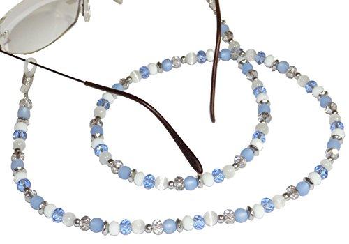 ARTemlos® Handmade Damen-Brillenkette aus Edelstahl und Perlen in blau/weiß