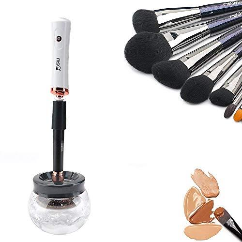Make-up Pinsel Reiniger MSQ automatische Pinselreiniger, Reinigt und trocknet Make-up Pinsel in Sekunden / 360 Grad mit 8 Gummihalter, Anzug für alle Größe Make-up Pinsel(weiß)