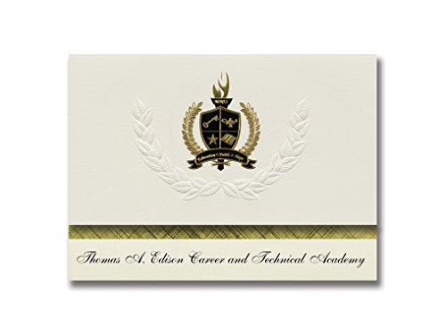 Signature Announcements Thomas A. Edison Career and Technical Academy (Elizabeth, NJ) Graduation Announcements Presidential Basic Pack 25 mit goldfarbener und schwarzer Folienversiegelung