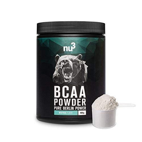 nu3 BCAA en polvo | 400g powder sabor neutral | 40 porciones de aminoácidos ramificados | Proporción óptima de leucina, isoleucina y valina en 2:1:1 | Suplemento deportivo | Nutrición deportiva vegana