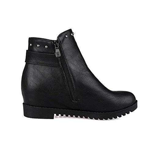 VogueZone009 Damen Mittler Absatz Blend-Materialien Niedrig-Spitze Reißverschluss Stiefel Schwarz