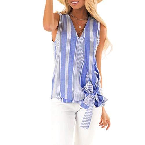 BiCphy Fashion Damen V-Ausschnitt, ärmellos, Tank-Top, Sommer gestreift, lässig, für Damen, geknotetes Top Gr. XXL, blau -