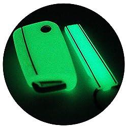 Schlüssel Hülle + Keytag VB für 3 Tasten Auto Schlüssel Silikon Cover von Finest-Folia (Nachtleuchtend)