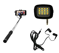 MuditMobi Combo Pack Selfie Stick With Selfie Flash Light & Earphone For Asus Zenfone 2 Laser 5.5