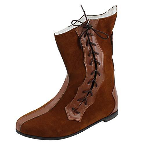 UOMOGO Footwear Mens Cowboy Tirare Occidentale Lungo Tacco Cubano Smart Caviglia Boots Stivali Uomo A metà Polpaccio Rivetti Stivali da Cowboy Stivali Stivali Neri con Cinturino con Fibbia