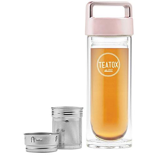 Teatox Thermo-Go Bottle 330ml | doppelwandige Teeflasche mit 2-in-1 Teesieb | Tee Trinkflasche, Thermosflasche Tee | Fruit Infuser Water Bottle | Die Flasche mit Sieb für unterwegs (Roségold)