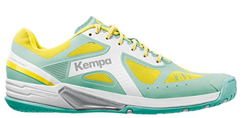 Kempa Wing Lite Women, Chaussures de Handball Femme Turquoise (Turquoise/Jaune Spring)