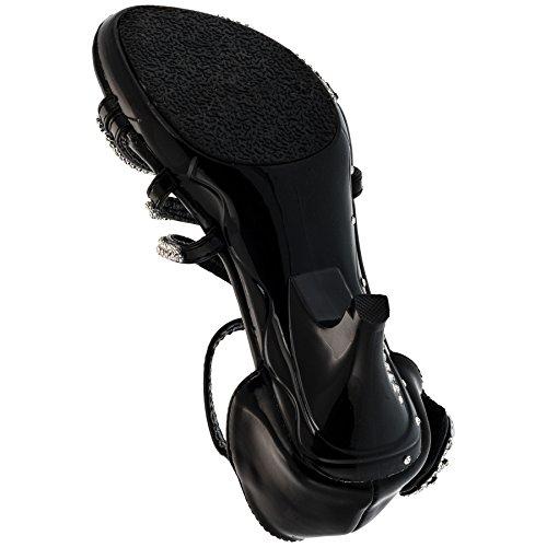 Sandali da ragazza col tacco, pumps #659 Schwarz