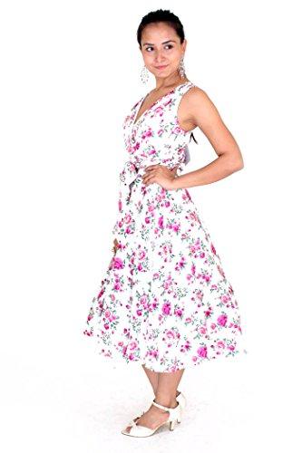 Miss Lavish -  Vestito  - Sera  - Floreale - Senza maniche  - Donna Magenta-White