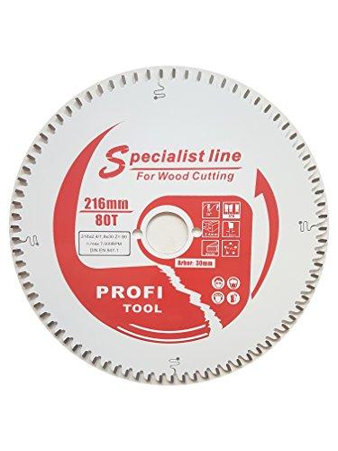 Preisvergleich Produktbild profi-tool-germany HM-Sägeblatt 216 x 2,4 x 30 Z= 80 WZ Feinschnitt negativ mit Antihaft Beschichtung