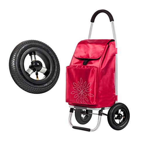 JUN-Einkaufstrolleys Einkaufswagen Leichte, Faltbare Reise   Lebensmittelgeschäft-Karren 2 Gummirad-zusammenklappbare Stoß-, Zug-Karren große Kapazität 55L Hochleistungs Max.50KG (Farbe : Red)