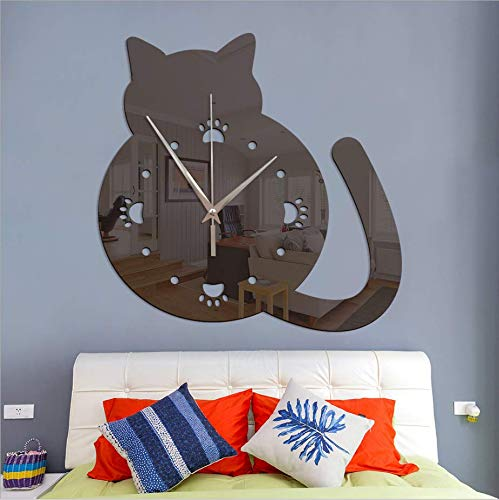 YSSYSS Cute Animal Chubby Cat Cat Paw Print Acrylic Mirror Living Room Bedroom Decoration DIY 28 * 28 cm (Paw Print Grenze)