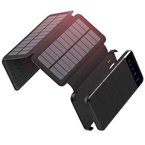 Addtop caricabatterie solare 10000 mah, portatile power bank staccabile pieghevole 3 pannelli solari batteria esterna con doppia porta usb per iphone, ipad, telefoni android, tablet, fotocamere