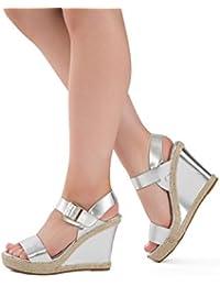 Para mujer negro dorado plateado puntera abierta plataforma cuña alta Talón Tobillo Strappy verano sandalias tamaño UK 3–8