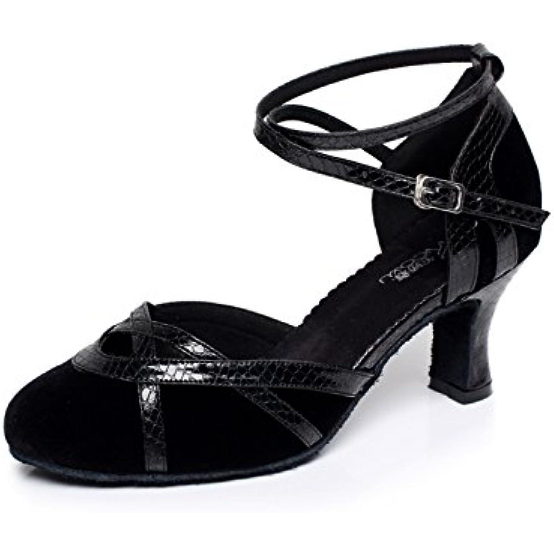 JSHOE Chaussures De Danse Pour Femme Latin / / Chacha / Samba / / Chaussures De Danse Modernes / Jazz,Black-heeled7cm-UK2.5... - B0796NP7CC - ff2eec