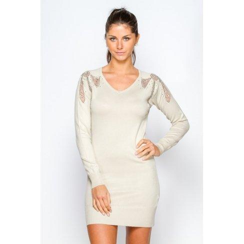 Princesse boutique - Robe pull BEIGE motif noeuds Beige