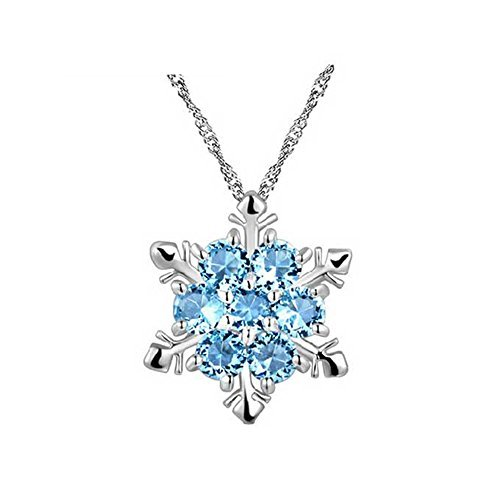 (Silber Ton Runde Sea Blau Swarovski Elements Kristall Schneeflocke Anhänger Halskette Fashion Jewelry)