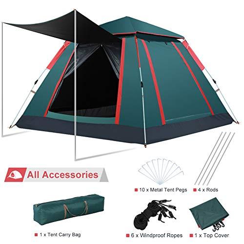 Pop Up Zelt Wurfzelt 2 3 4 Personen mit Quick Up System, Kuppelzelt Campingzelt Vorraum UV Schutz Wasserdicht für Outdoor Sport Camping Reisen Strand 240 × 240 × 150 cm Grün -