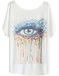 Luna et Margarita Damen Weiss Fledermaus-shirt mit Baumwolle und Stoffdruck in der gleichen Größen 59cm
