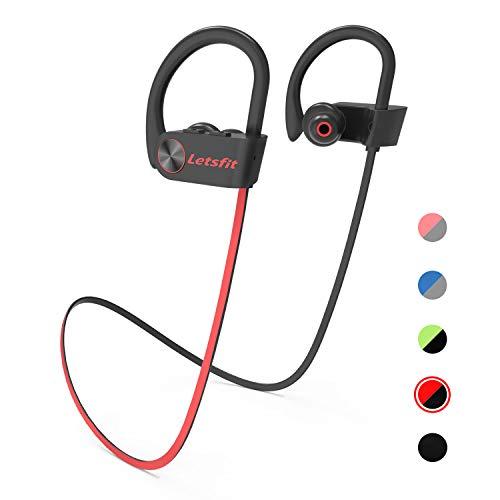 Letsfit Bluetooth Kopfhörer Kabellose Sportkopfhörer eingebaute HD-Mikrofon CVC 6.0 Stereo Sound IPX7 In Ear Kopfhörer Wasserdicht 8 Stunden Spielzeit für Sport und Fitness MEHRWEG (Free-headset All One In Hands)