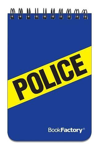 BookFactory® Polizei Notebook/Mini Police Notizblock/Pocket Police Notizen, 120Seiten–31/5,1cm X 51/4, strapazierfähig Dick Lichtdurchlässiges, Hohe Qualität mit Wire-O Bindung oben gebunden (jou-120-m3cwt-a (Police))