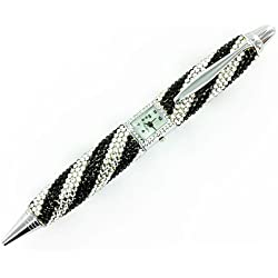 Black and Clear Crystal on Silver Plated Clock Pen