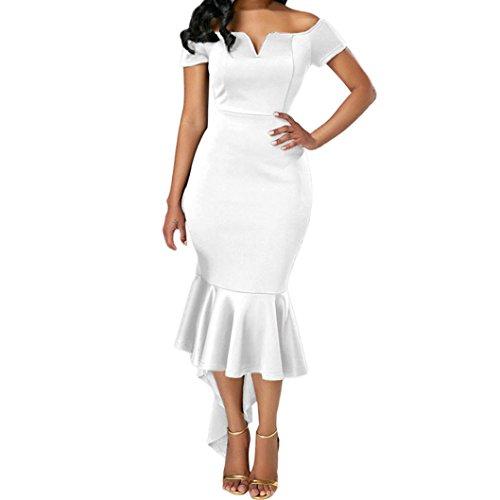 eid Damen, DoraMe Frauen Schulter Partei-Kleid Lange ärmel Dünnes Elastischen Schwalbenschwanz Kleid (Weiß, M) (Rosa Kleid Weiße Schuhe)