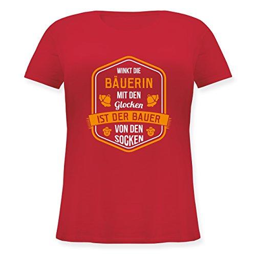 Landwirt - Bauernweisheit Glocken - Lockeres Damen-Shirt in großen Größen mit Rundhalsausschnitt Rot