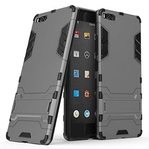 Happy-L Hülle Für Smartisan U1 Pro (2017), 2-in-1-Eisenrüstung Tough Style Hybrid-Zweischichtrüstung Defender PC + TPU Hartschalen-Schutzhülle mit stoßsicherem Standfuß (Farbe : Grau)