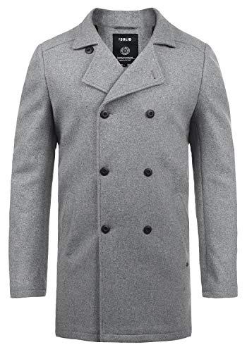 !Solid Harvey Herren Winter Mantel Wollmantel Lange Winterjacke mit Doppelreihiger Knopfleiste, Größe:XL, Farbe:Grey Melange (8236)