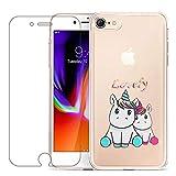 Laixin Coque pour iPhone 8/iPhone 7 Étui Transparent Silicone Anti Choc Mince Case Housse de Protection + Free [Protecteur d'écran en Verre trempé], Amoureux de la Licorne