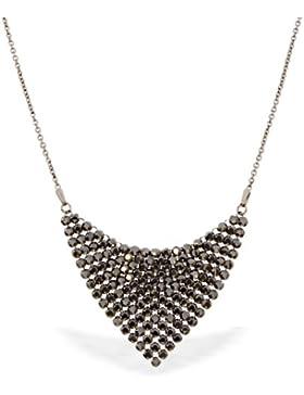Spark Damen Kette, 151 Swarovski Elements schwarz, Silber 925 geschwärzt, 42 cm + 5 cm Verlängerung
