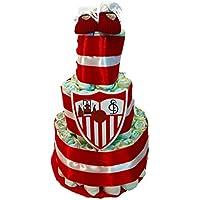 Tarta de pañales DODOT SEVILLA Futbol Club con patucos oficiales 4f950536bafeb