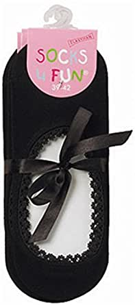 3 Paar Füßlinge mit Spitzenabschluß Farbe Schwarz Größe 35-38