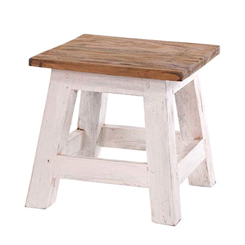 DESIGN DELIGHTS RUSTIC FOOTSTOOL PALO | 27,5x26x26 cm (HxWxD), recycled mahogany wood | wooden stool | Colour: 05 white-natural